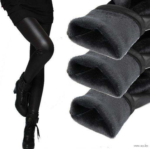 Леггинсы под кожу утеплённые, высокой эластичности.
