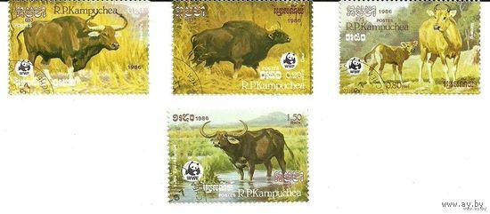 Фауна. Серия 4 марки 1986 Кампучия (Камбоджа)