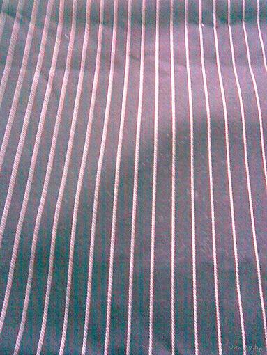 Ткань шерсть костюмная, черная в белую полоску (отрез 1,6 х 1,45 м)