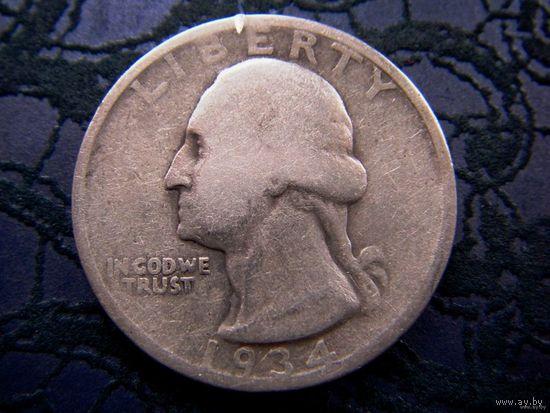 США, 1/4 доллара, 1934 г., серебро