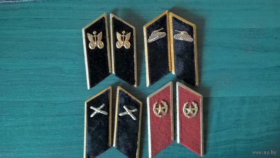 Петлицы на парадку  с эмблемами -1  пожарный, 1 внутренние войска(без эмблем),2 мотострелков, 1связь,1 танкисты,1 артиллерия,1 автомобильные.