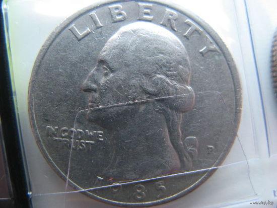 США 25 центов 1985 г. квотер (P)