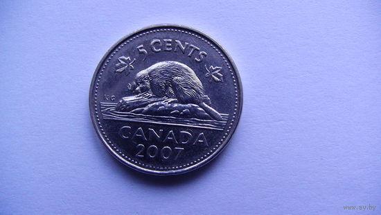 Канада 5 центов 2007 медно-никелевый сплав - UNC!   распродажа