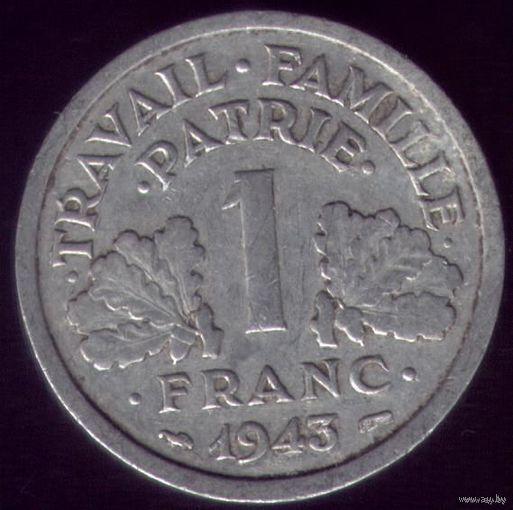 1 Франк 1943 год Франция