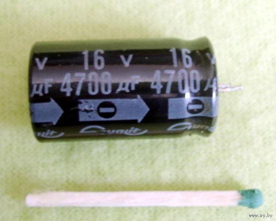 Конденсатор 4700мкФ 16В.