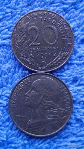 Франция 20 сантимов 1991 г.   распродажа