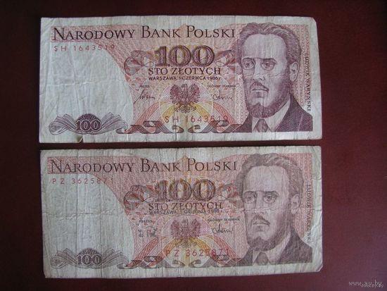 100 злотых 1986 и 1988, две купюры, Польша. Цена за 2.