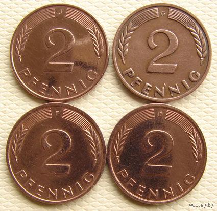 ФРГ. 4 монеты по 2 пфенига. Цена короче миниюбки.