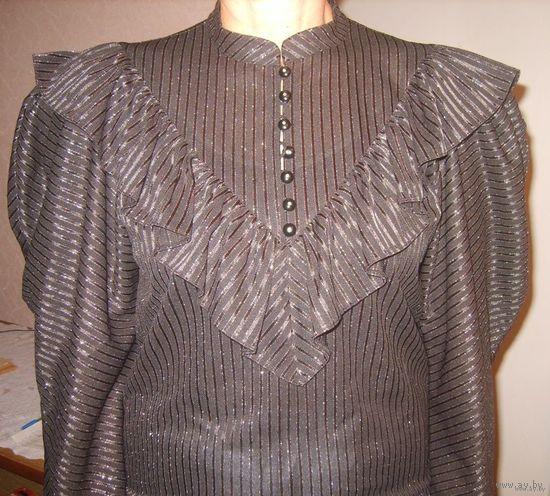 Шикарная блуза с люриксом ГДР для модниц, р.46