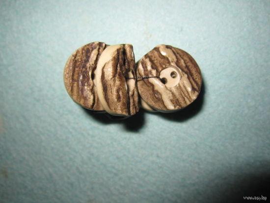 Пуговицы красивые необычные, под кору дерева, 23х5 мм (8 шт.)
