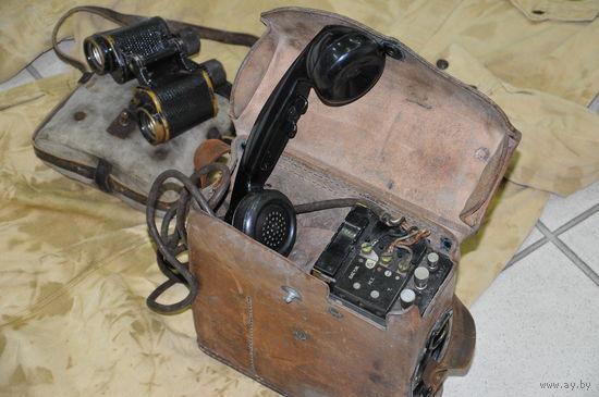 Амэрикан полевой телефон в чехле из натур.кожи взводно-ротного звена.С фамилией телефониста. Полнейший оригинал.