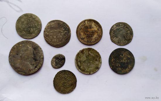 Сборный лот серебра и билона.гривенник,20 копеек,солид сигизмунда и не только.с рубля
