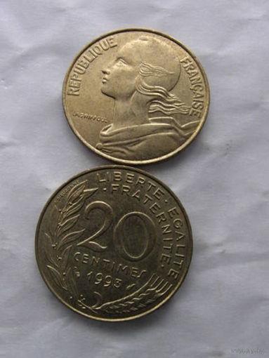 Франция 20 сентимов 1993г.  распродажа