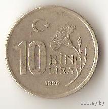 10 000 ЛИР 1996 ТУРЕЦКАЯ РЕСПУБЛИКА. ФЛОРА. ГВОЗДИКА.