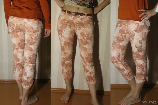 Бриджи персикового цвета (новые), размер M.  Состав: хлопок 97%, эластан 3%
