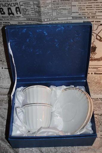 Подарочный набор чайная пара-из прозрачного белоснежного фарфора-Финляндия-новый в изумительной упаковке-очень деликатный и приятный на вид!