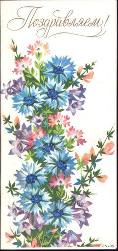 Мини-открытка Поздравляем! 1988 год Е.Финогенова чист