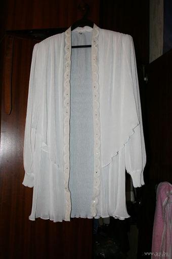 Летний женский костюм - платье белый плиссерованный