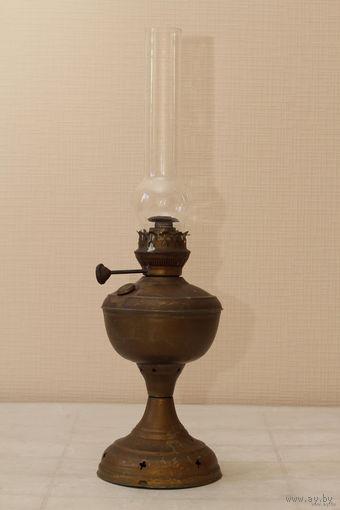 Старинная керосиновая лампа Германия ,латунь,выс. 53см.
