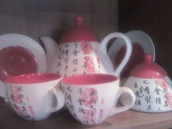 НОВЫЙ китайский чайный сервиз с иероглифами на 2 персоны