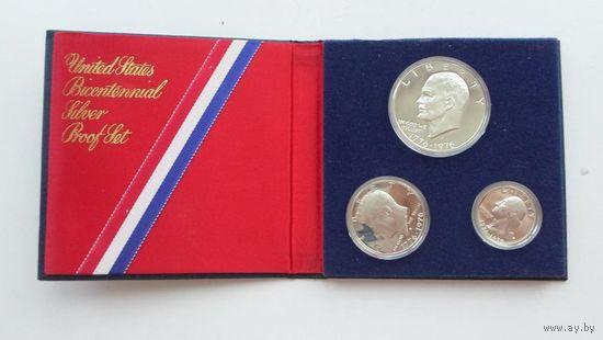 "США. Юбилейный набор 1976 года ""200 лет независимости"". Серебро, prooflike!"