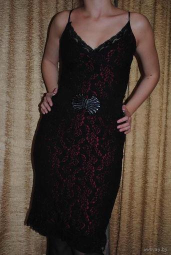 Вечернее, гипюровое, английское женское фирменное платье, размер-(40/42),-на рост 164-175.