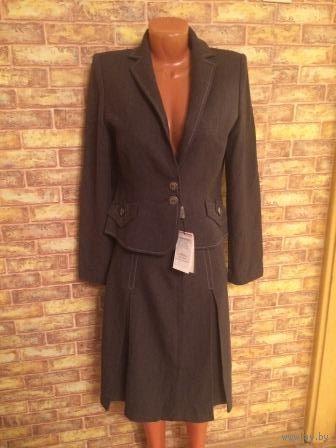 Красивый теплый новый костюм серого цвета, Польша, 46 размер. Пиджак длина 59см, талия43см. Юбка поталии 40см, длина 59 см. обмен не интересует