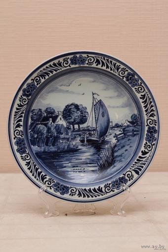 Настенная тарелка королевской фабрики Дэльфт, Голландия ручная роспись    60е года ХХвека