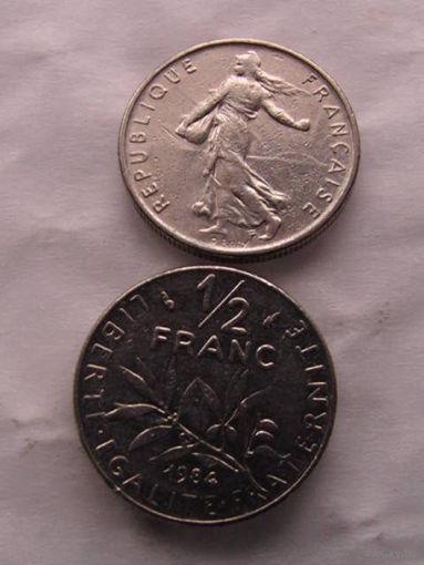 1\2 франка франции 1984г.  распродажа