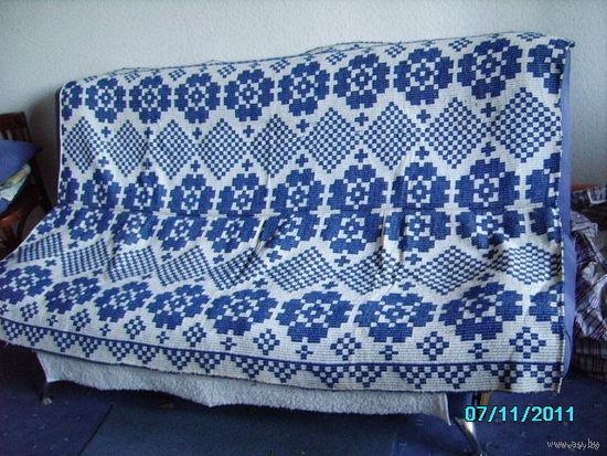 Покрывало тканое королевского синего цвета (ручная работа) ВИНТАЖ